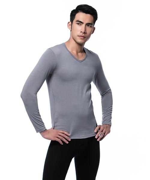男V領發熱長袖-熾柔-3GUN |男性時尚內衣褲MIT品牌