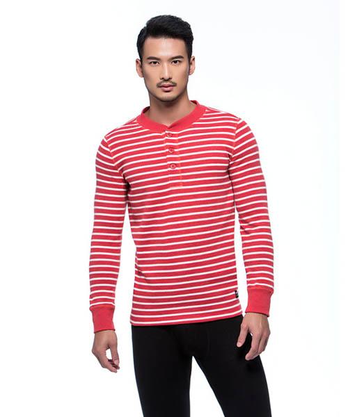 磨毛棉柔男亨利領長袖衫-FREEWEAR-3GUN |男性時尚內衣褲MIT品牌