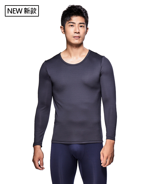 X熱力學男保暖圓領長袖衫-熾柔X-3GUN  男性時尚內衣褲MIT品牌