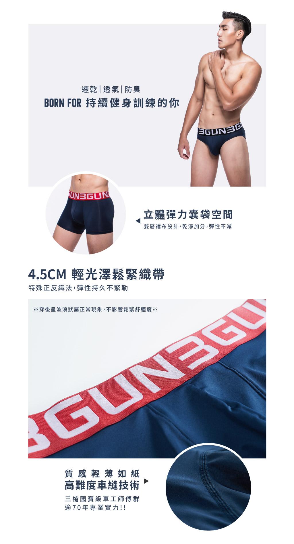 復刻3入男真快乾三角褲組-吸排-3GUN |男性時尚內衣褲MIT品牌