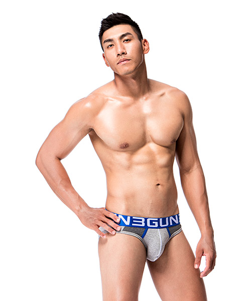 3GunSitename-炫色動感-拼色剪接男彈力棉三角褲