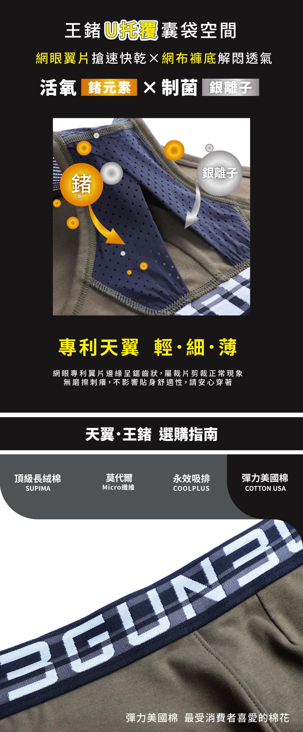 制菌網眼男彈力棉三角褲-天翼.王鍺-3GUN |男性時尚內衣褲MIT品牌