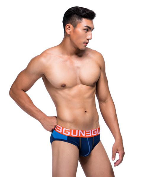 拼色剪接男彈力棉三角褲-炫色動感-3GUN |男性時尚內衣褲MIT品牌
