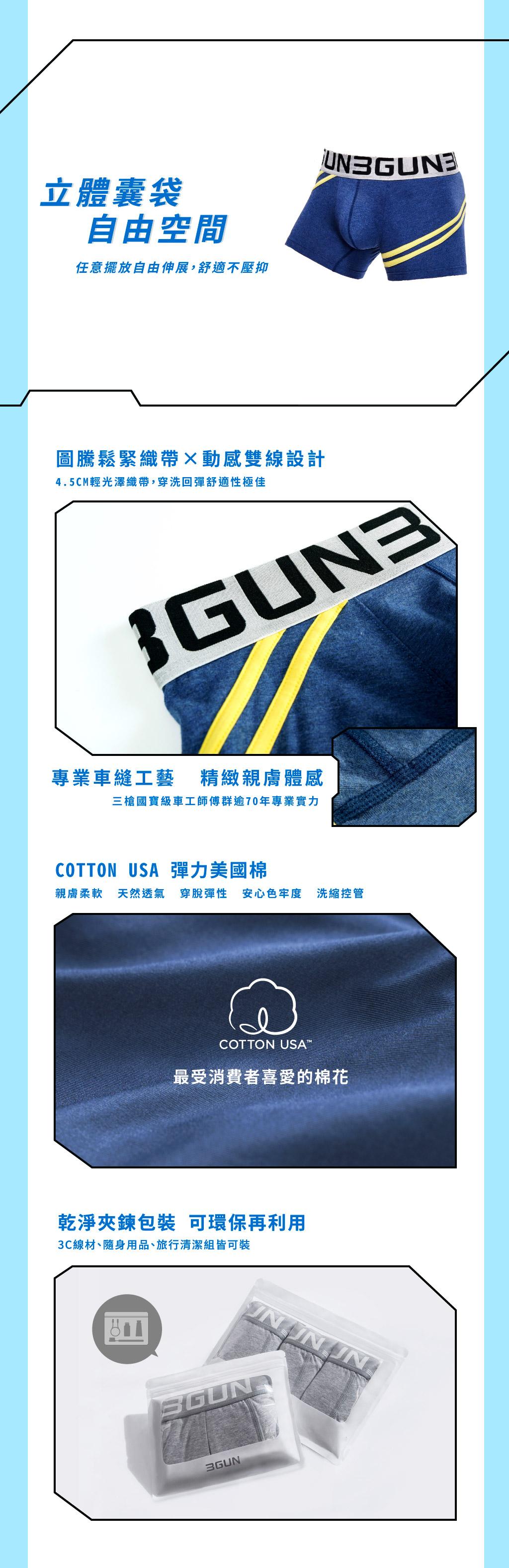 配色爬線男彈力棉三角褲-炫色動感-3GUN |男性時尚內衣褲MIT品牌