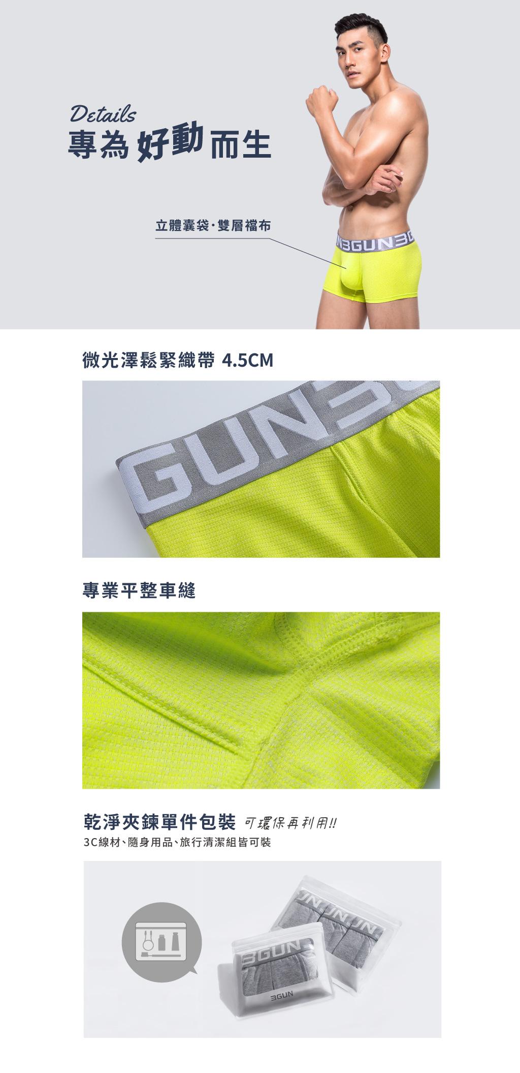 超透氣男快乾網眼三角褲-吸排-3GUN  男性時尚內衣褲MIT品牌