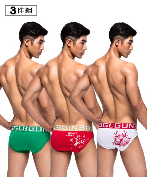 派對印花男彈力棉三角褲組-棉感-3GUN |男性時尚內衣褲MIT品牌
