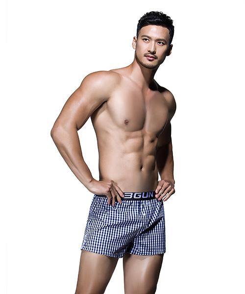 柔軟舒適男純棉四角平口褲-都會布褲-3GUN |男性時尚內衣褲MIT品牌