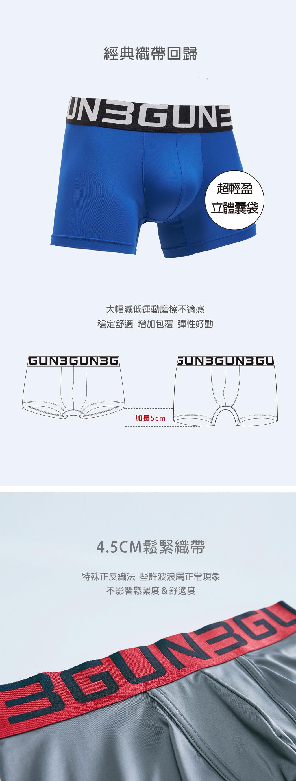 3GUN  男性時尚內衣褲MIT品牌-吸排-極彈涼爽男真快乾長平口褲