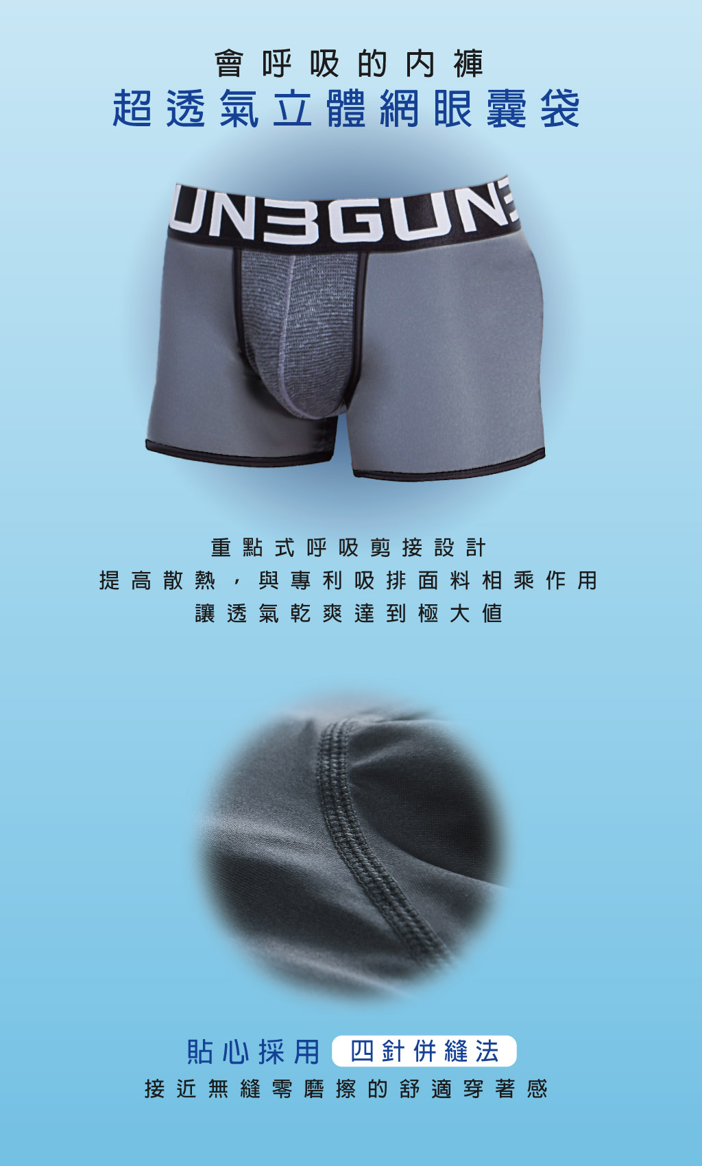 超透氣男真快乾平口褲-吸排-3GUN |男性時尚內衣褲MIT品牌