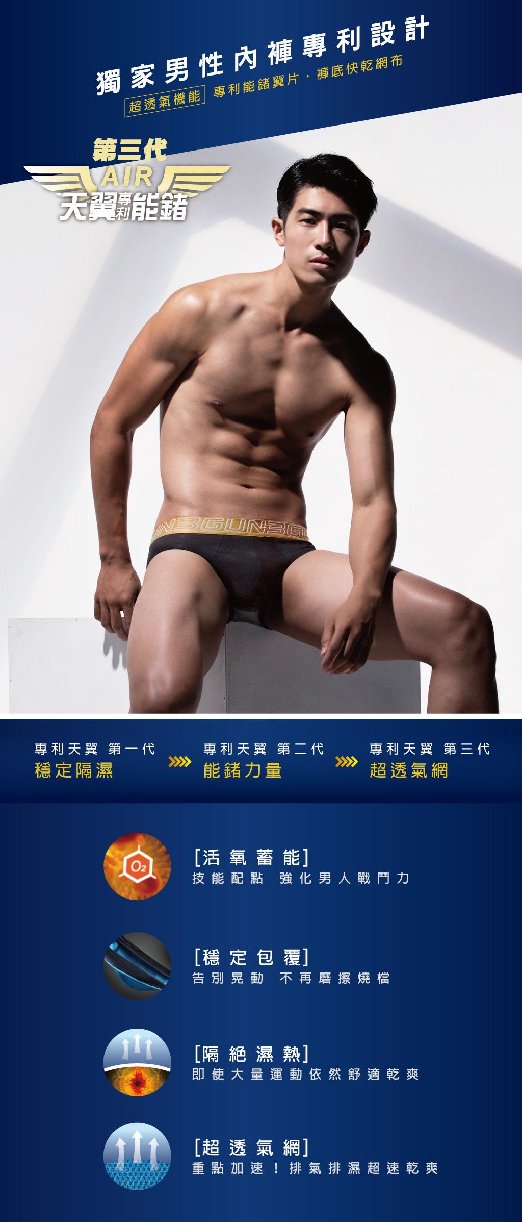 3GUN |男性時尚內衣褲MIT品牌-天翼‧能鍺AIR-透氣網眼男彈力棉平口褲