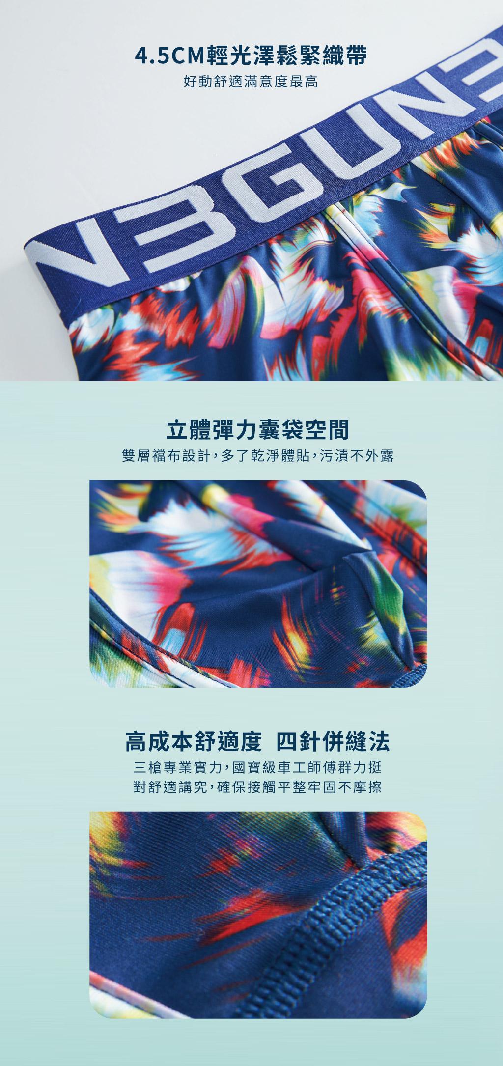 3GUN |男性時尚內衣褲MIT品牌-限量印花-炫彩男永效吸排平口褲