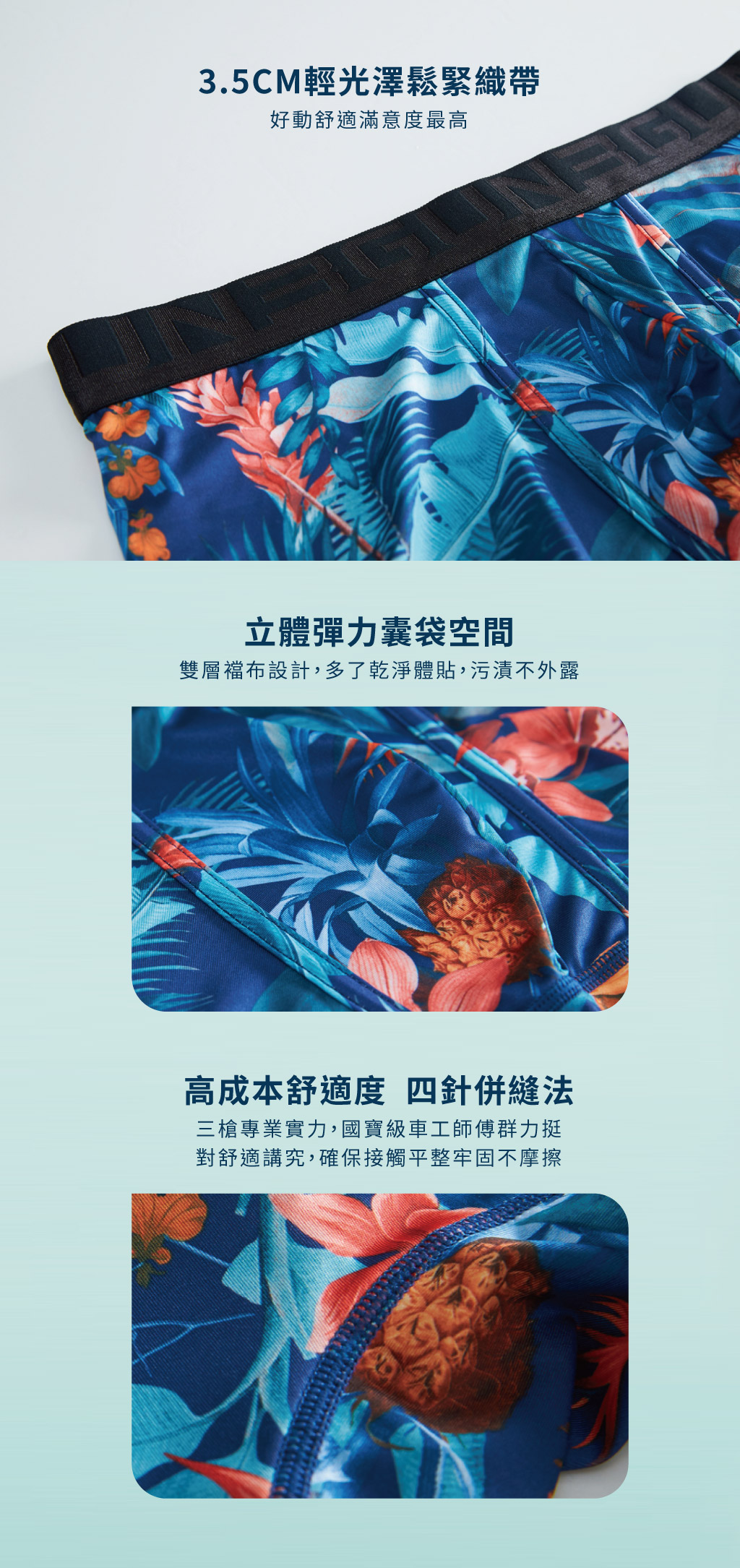 3GUN |男性時尚內衣褲MIT品牌-限量印花-夏夜男永效吸排平口褲