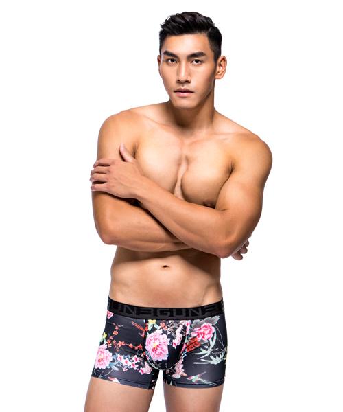 闇鳥男永效吸排平口褲-限量印花-3GUN |男性時尚內衣褲MIT品牌