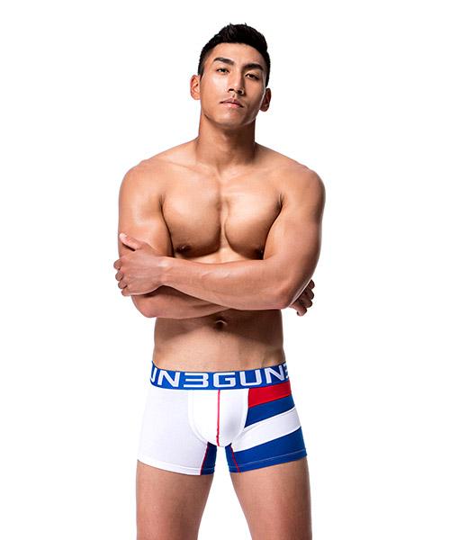 單邊剪接男剪接平口褲-炫色動感-3GUN |男性時尚內衣褲MIT品牌