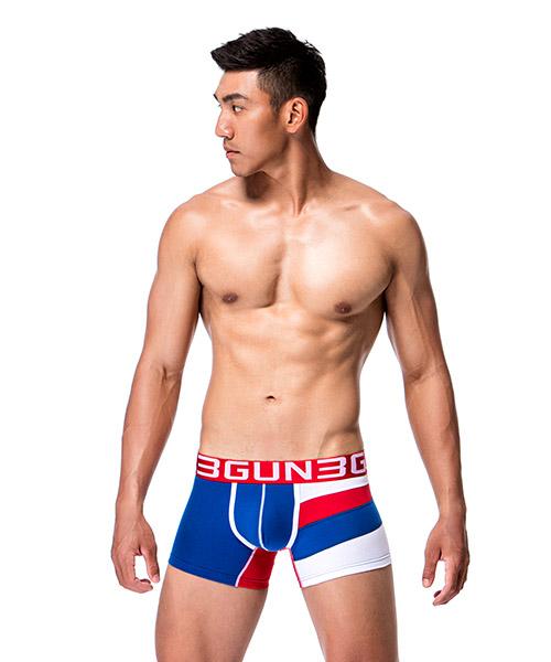 單邊剪接男彈力棉平口褲-炫色動感-3GUN |男性時尚內衣褲MIT品牌
