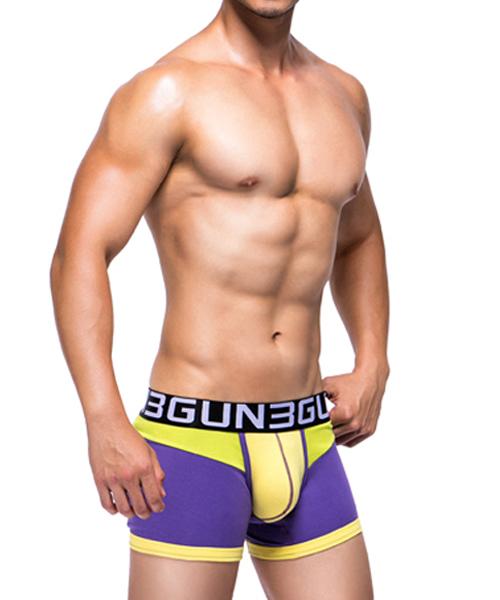 拼色剪接男彈力棉平口褲-炫色動感-3GUN |男性時尚內衣褲MIT品牌