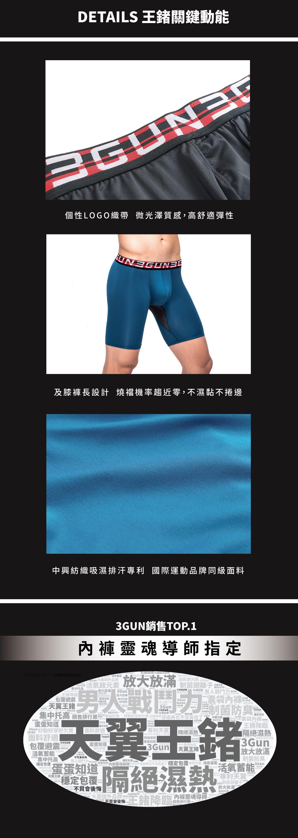 制菌網眼男吸排長版平口褲-天翼.王鍺-3GUN |男性時尚內衣褲MIT品牌