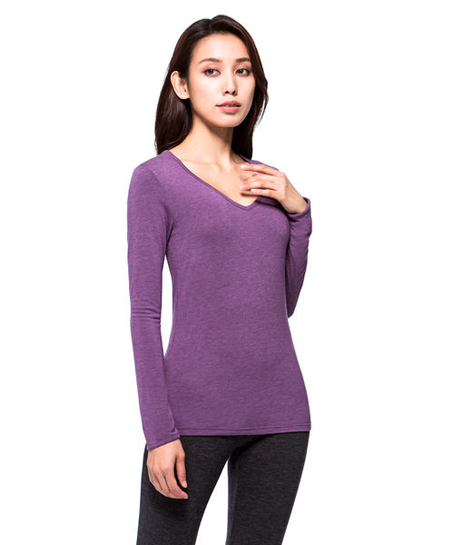 勁熱衣                            科技羊毛女保暖V領長袖衫
