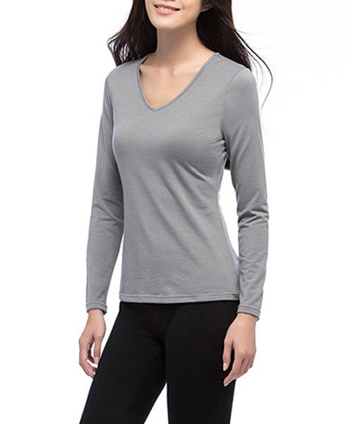 女V領發熱長袖-熾柔-3GUN |男性時尚內衣褲MIT品牌