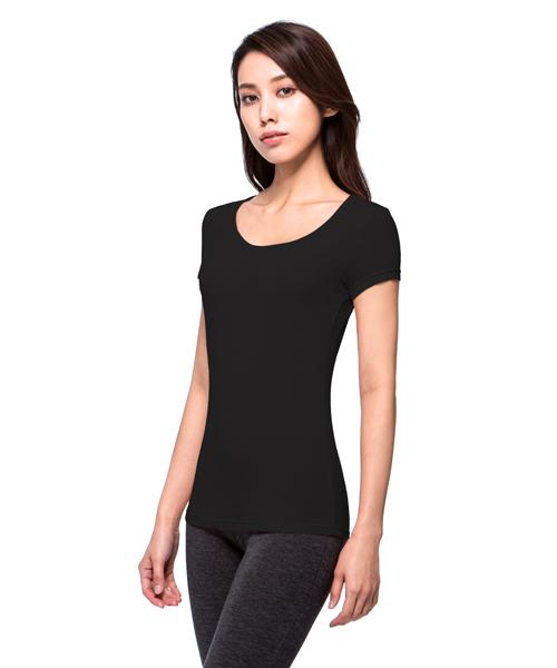 勁熱衣                            科技羊毛女保暖圓領短袖衫