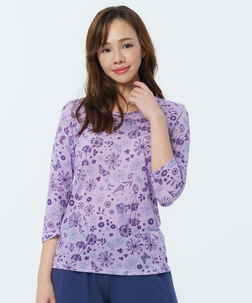 制菌防蟎女八分袖圓領衫-天絲-印花-3GUN |男性時尚內衣褲MIT品牌