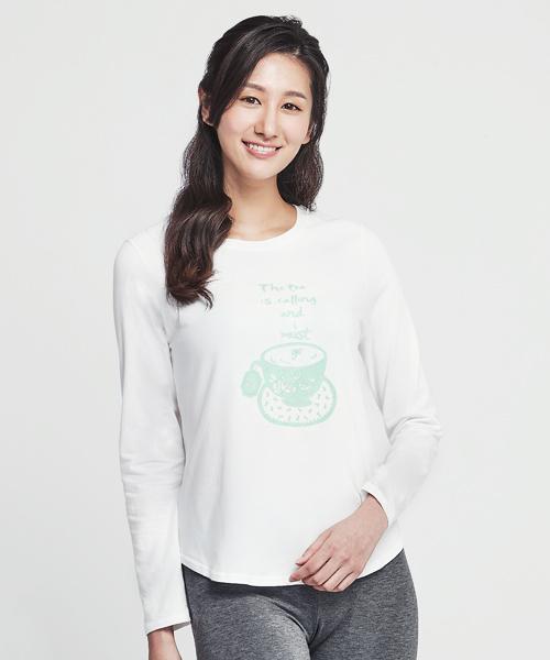 細柔棉感女印花圓領長袖衫-自由空間-圓舞曲-3GUN |男性時尚內衣褲MIT品牌