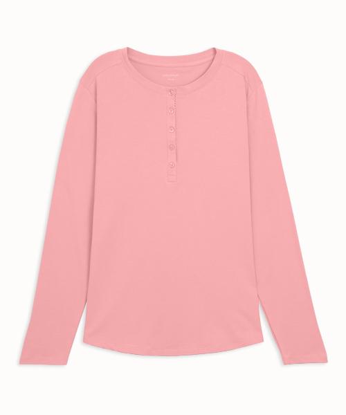 細柔棉感女亨利領長袖衫-自由空間-圓舞曲-3GUN |男性時尚內衣褲MIT品牌