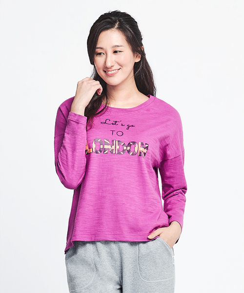 竹節棉女印花圓領長袖衫-自由空間-FLOWING-3GUN |男性時尚內衣褲MIT品牌