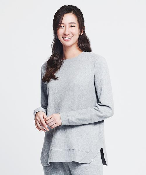 3GunSitename-自由空間-雙層棉-女條紋剪接長袖衫