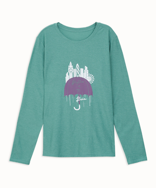 輕彈女雨中旋律長袖衫-都會休閒-印花T-3GUN |男性時尚內衣褲MIT品牌