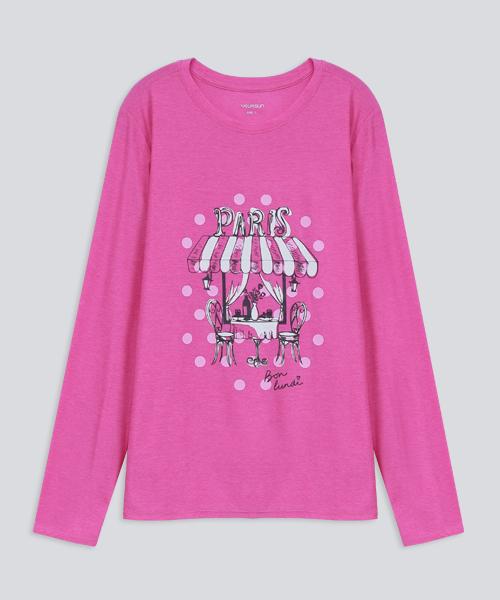 輕彈女花都街角長袖衫-輕戶外休閒-印花T-3GUN |男性時尚內衣褲MIT品牌