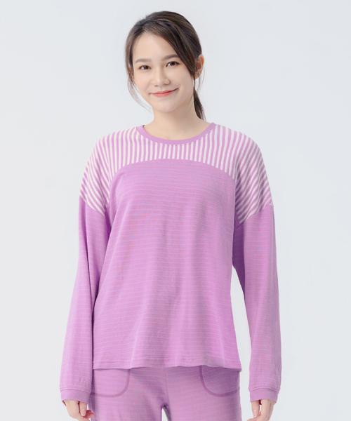 蓬鬆棉柔女條紋剪接長袖衫-自由空間-雙層棉-3GUN |男性時尚內衣褲MIT品牌