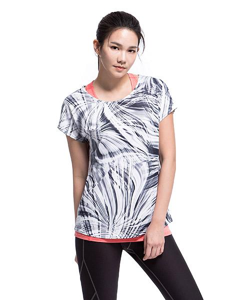 YA系列-享動時尚                      女印花船領連袖衫