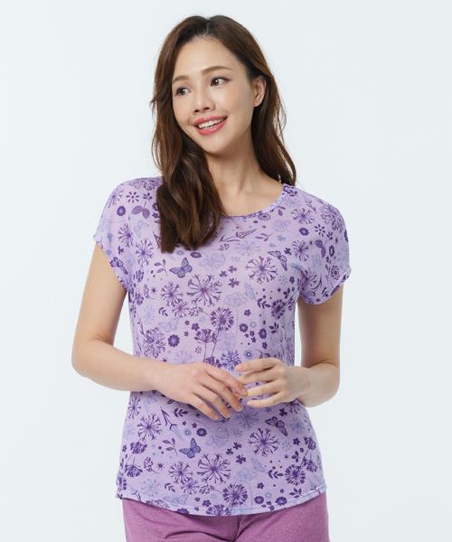 制菌防蟎女蓋袖圓領衫-天絲-印花-3GUN  男性時尚內衣褲MIT品牌