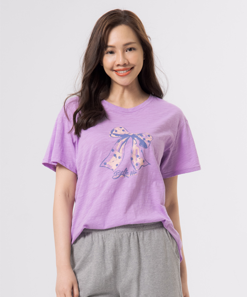 竹節棉女印花圓領寬版衫-自由空間-FLOWING-3GUN |男性時尚內衣褲MIT品牌