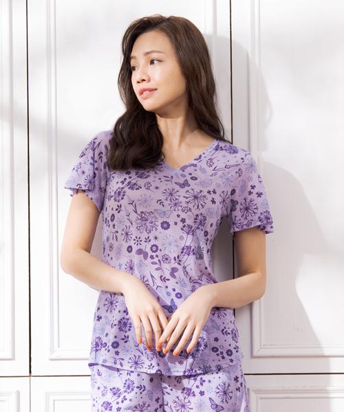 制菌防蟎女荷葉袖V領衫-天絲-印花-3GUN |男性時尚內衣褲MIT品牌