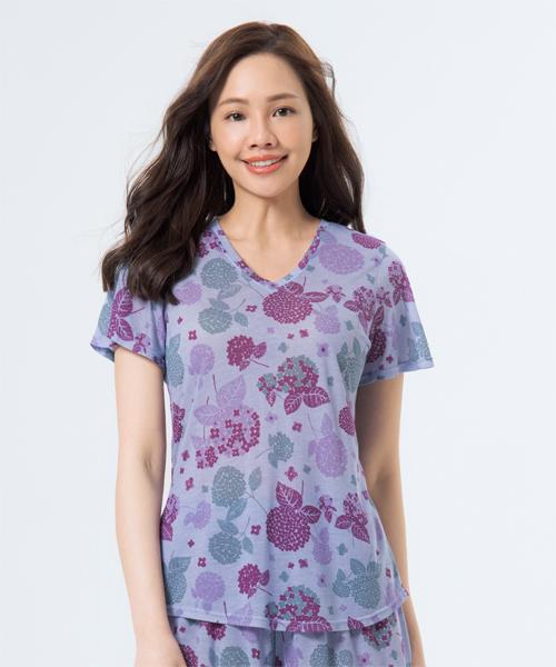 制菌防蟎女荷葉袖V領衫-天絲-印花-3GUN  男性時尚內衣褲MIT品牌