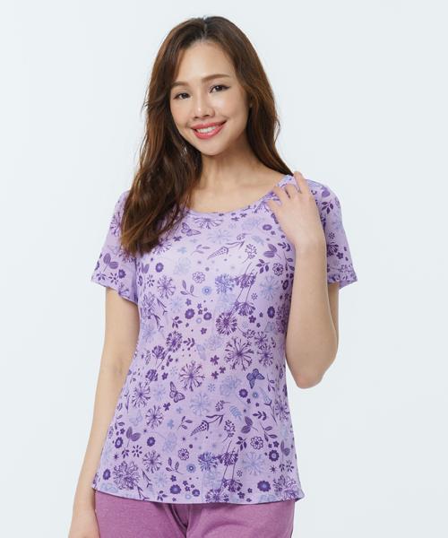 制菌防蟎女無鋼圈BRA短袖-天絲-印花-3GUN  男性時尚內衣褲MIT品牌