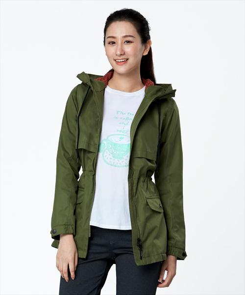 超撥水棉女防風連帽長外套-都會休閒-外套-3GUN |男性時尚內衣褲MIT品牌