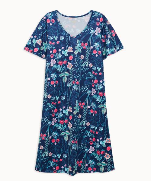 專利吸排女荷葉袖V領洋裝-旅行系列-印花-3GUN |男性時尚內衣褲MIT品牌