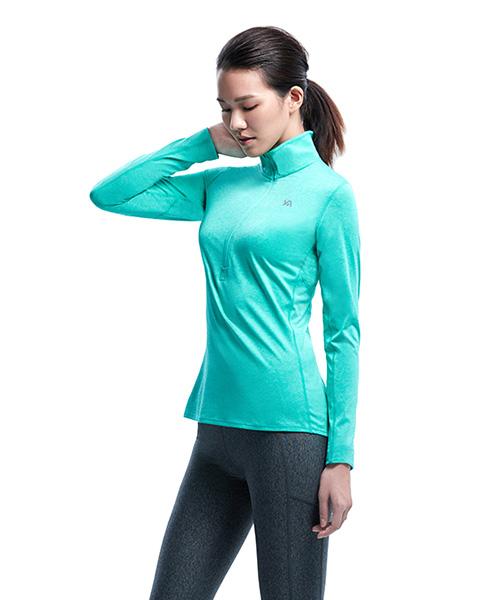 YA系列-排汗密碼                      女彈性立領長袖衫