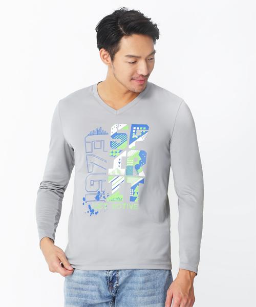 男印花V領長袖衫-旅行系列-2級印花-3GUN |男性時尚內衣褲MIT品牌