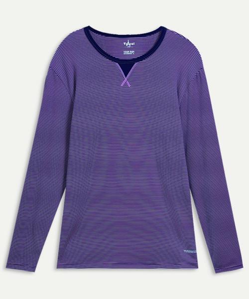 男圓領長袖衫-旅行系列-2級條紋-3GUN |男性時尚內衣褲MIT品牌