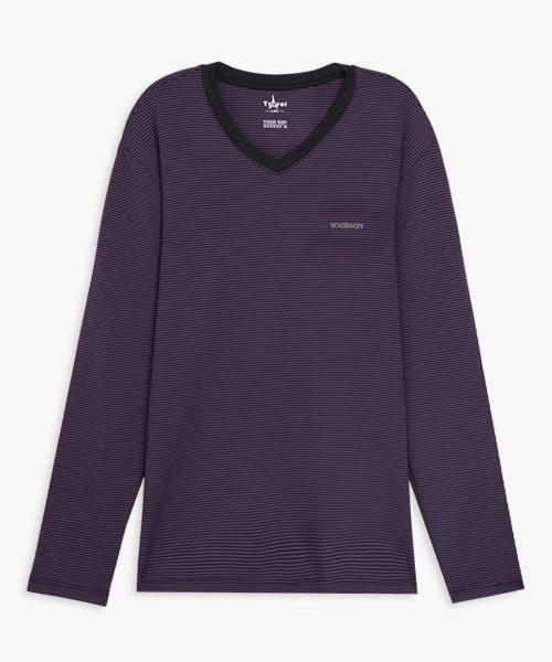 男V領長袖衫-旅行系列-2級條紋-3GUN |男性時尚內衣褲MIT品牌