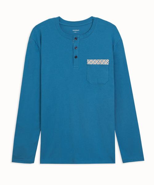細柔棉感男亨利領長袖衫-自由空間-圓舞曲-3GUN |男性時尚內衣褲MIT品牌