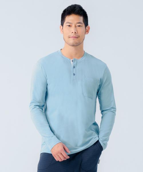 細柔棉感男亨利領長袖衫-自由空間-圓舞曲-3GUN  男性時尚內衣褲MIT品牌