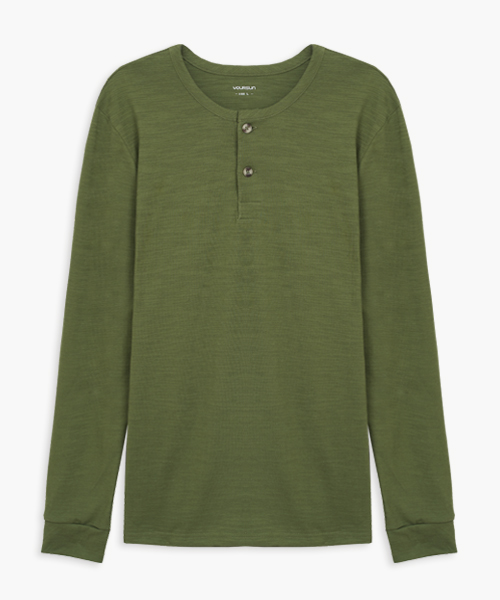 竹節棉男亨利領長袖衫-自由空間-FLOWING-3GUN |男性時尚內衣褲MIT品牌