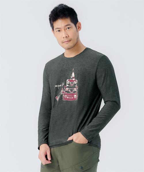 輕彈男早安巴黎長袖衫-輕戶外休閒-印花T-3GUN |男性時尚內衣褲MIT品牌