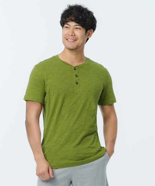 竹節棉男亨利領短袖衫-自由空間-FLOWING-3GUN |男性時尚內衣褲MIT品牌