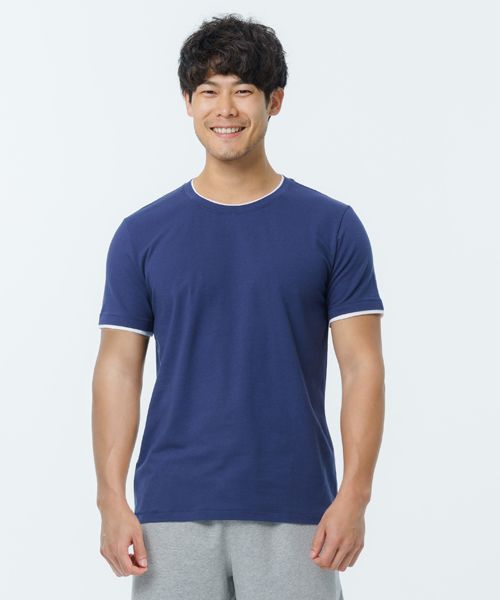 細柔棉感男假兩件短袖衫-自由空間-圓舞曲-3GUN |男性時尚內衣褲MIT品牌